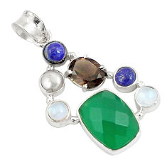 Natural green chalcedony smoky topaz 925 sterling silver pendant jewelry d21286