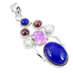 Natural blue lapis lazuli amethyst 925 sterling silver pendant d21293