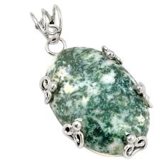 Natural white tree agate 925 sterling silver pendant jewelry d21301