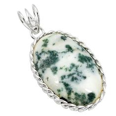 925 sterling silver natural white tree agate oval pendant jewelry d21304