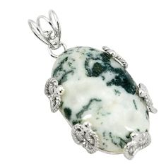 Natural white tree agate 925 sterling silver pendant jewelry d21306