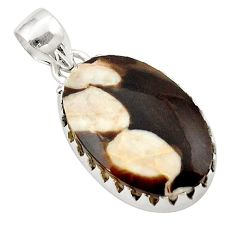 Natural brown peanut petrified wood fossil 925 silver pendant jewelry d21322