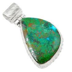 Natural green chrysocolla 925 sterling silver pendant jewelry d21330
