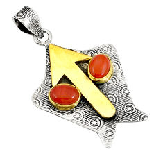 Victorian natural red snakeskin jasper 925 silver two tone pendant d21341