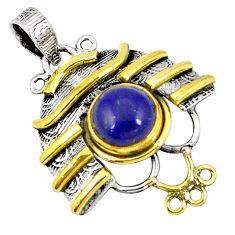 Clearance Sale- 925 silver victorian natural blue lapis lazuli round two tone pendant d21345