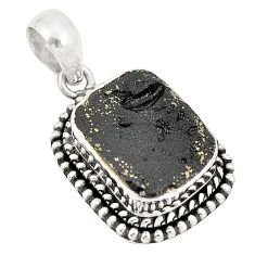 Natural black tektite octagan 925 sterling silver pendant jewelry d21403