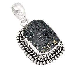 Natural black tektite octagan 925 sterling silver pendant jewelry d21406