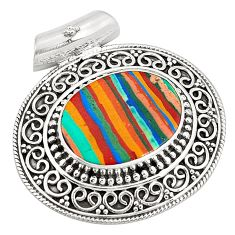 Clearance Sale- 925 sterling silver natural multi color rainbow calsilica pendant d21440