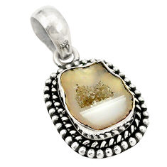 Natural brown geode druzy 925 sterling silver pendant jewelry d21446