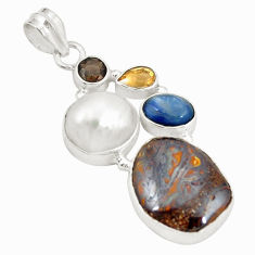 Clearance Sale- 925 sterling silver natural brown boulder opal white pearl pendant d21505
