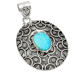 Natural blue larimar 925 sterling silver pendant jewelry d21516