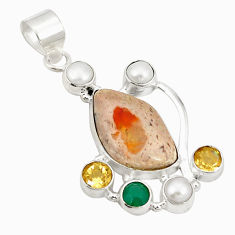 Natural multi color mexican fire opal pearl citrine 925 silver pendant d21554