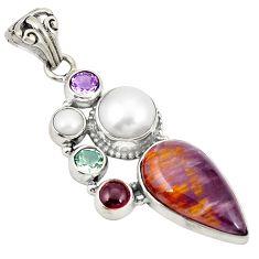 925 silver natural purple cacoxenite super seven (melody stone) pendant d21565