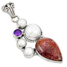 925 silver natural purple cacoxenite super seven (melody stone) pendant d21580
