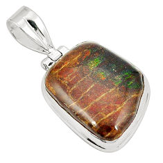 Natural multi color ammolite (canadian) 925 silver pendant jewelry d21583