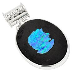 925 sterling silver natural black cameo opal on onyx pendant jewelry d21615