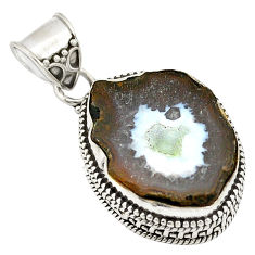 Clearance Sale- Natural brown geode druzy 925 sterling silver pendant jewelry d21621