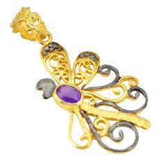 925 silver natural purple amethyst rhodium 14k gold butterfly pendant d21636