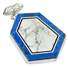 Natural white wild horse magnesite 925 sterling silver pendant d21681
