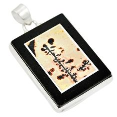 Clearance Sale- Natural brown coffee bean jasper 925 sterling silver pendant d21683