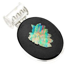 925 sterling silver natural black cameo opal on onyx pendant jewelry d21685