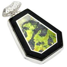Natural green kambaba jasper (stromatolites) 925 silver pendant d21686