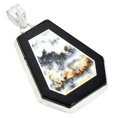 Natural white wild horse magnesite 925 sterling silver pendant d21689