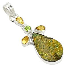 Clearance Sale- Natural golden pyrite druzy citrine peridot 925 sterling silver pendant d21705