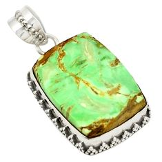 Natural green variscite octagan 925 sterling silver pendant jewelry d21726