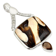 Natural brown peanut petrified wood fossil 925 silver pendant jewelry d21761