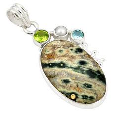 Natural green ocean sea jasper (madagascar) 925 silver pendant jewelry d21763