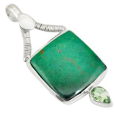 Natural green chrysocolla amethyst 925 sterling silver pendant d21790