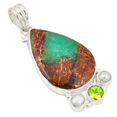 Clearance Sale- Natural brown boulder chrysoprase peridot pearl 925 silver pendant d21795