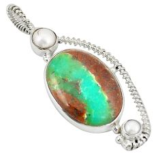 Natural brown boulder chrysoprase pearl 925 silver pendant d21798