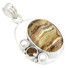 Clearance Sale- 925 silver natural multi color mexican laguna lace agate pearl pendant d21808