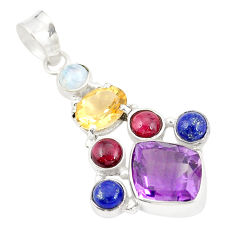 925 sterling silver natural purple amethyst moonstone pendant jewelry d21824