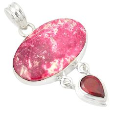 Natural pink thulite (unionite, pink zoisite) 925 silver pendant jewelry d21834