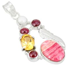 925 silver natural pink rhodochrosite inca rose (argentina) pearl pendant d21836