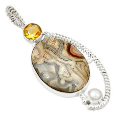 Clearance Sale- Natural multi color mexican laguna lace agate 925 silver pendant d21839