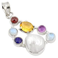 Clearance Sale- Natural white pearl amethyst 925 sterling silver pendant jewelry d21870