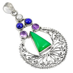 925 sterling silver natural green chalcedony amethyst pendant jewelry d21892
