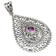 Multi color rainbow topaz 925 sterling silver pendant jewelry d21895