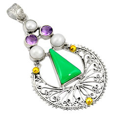 Natural green chalcedony amethyst 925 silver two tone pendant jewelry d21900