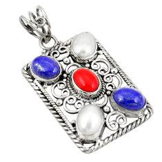 Natural blue lapis lazuli white pearl 925 sterling silver pendant d21910