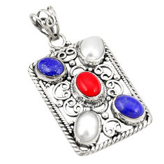 Natural blue lapis lazuli pearl coral 925 sterling silver pendant d21919