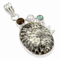 Natural black stingray coral from alaska 925 silver pendant jewelry d21928