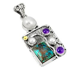 925 silver natural green chrysocolla amethyst two tone pendant jewelry d21935