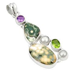 Natural multi color ocean sea jasper (madagascar) 925 silver pendant d22328