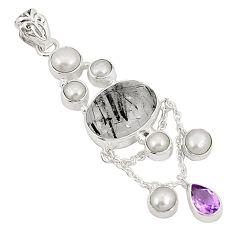 925 silver natural black tourmaline rutile pearl two tone pendant d22376