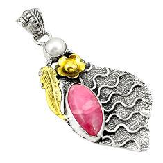 Natural pink rhodochrosite inca rose 925 silver two tone pendant d22377